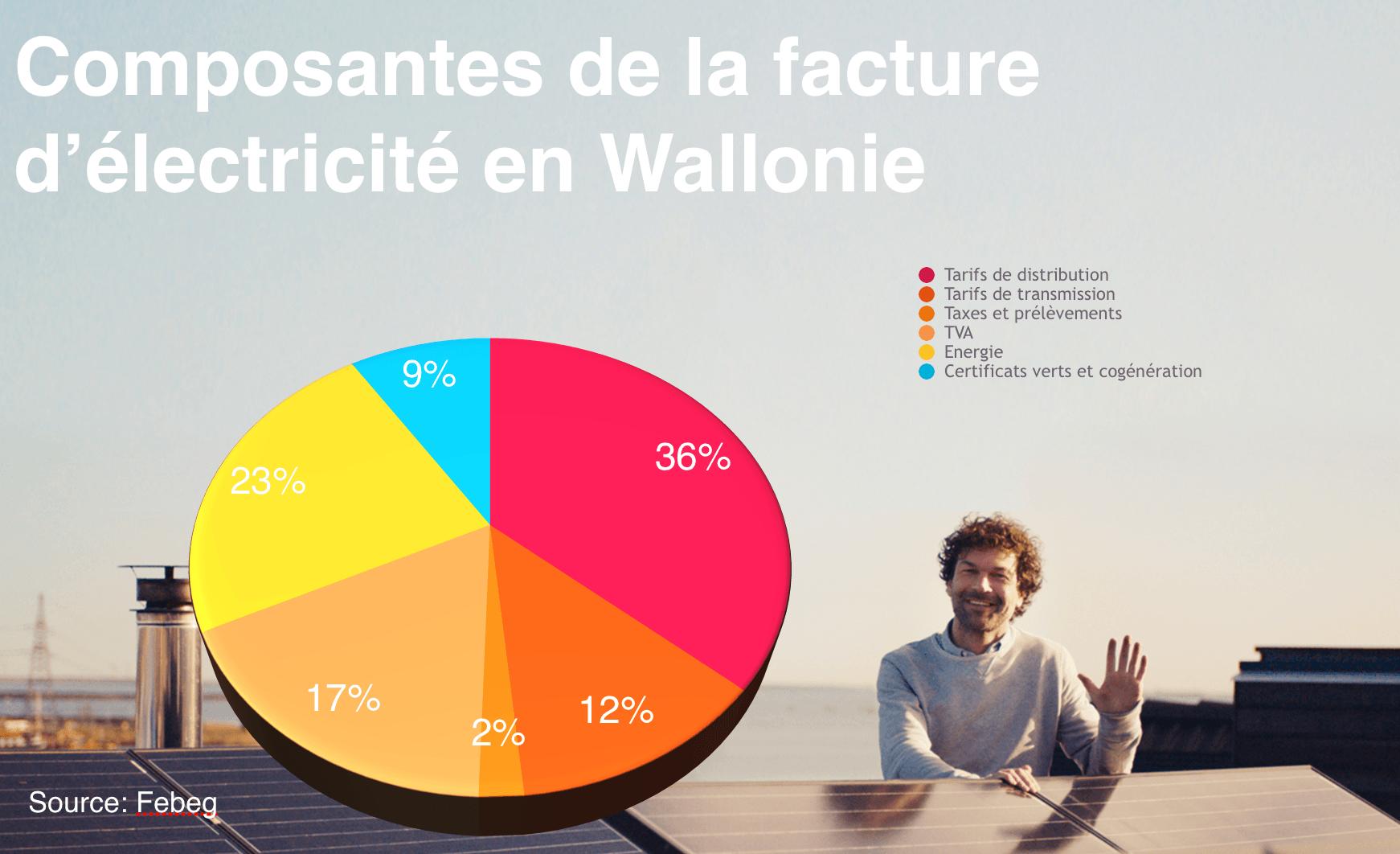 composantes de la facture d'electricité en Wallonie